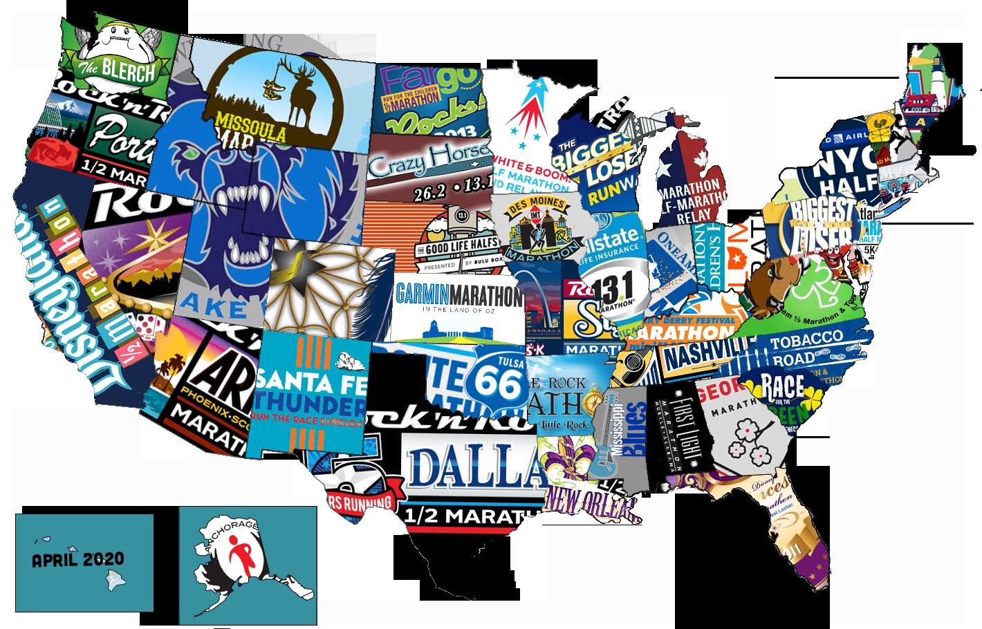 50 States Half Marathons Map