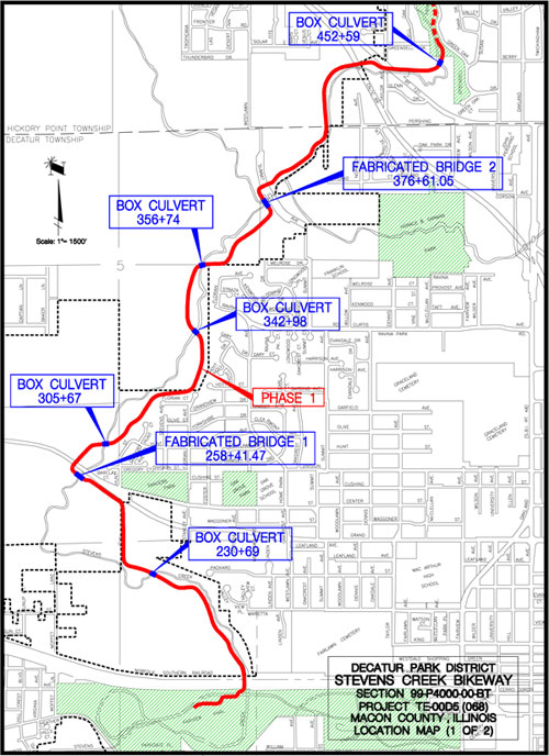 Decatur Illinois Map.Stevens Creek Bikeway From Fairview Park To Greendell Park Fat At