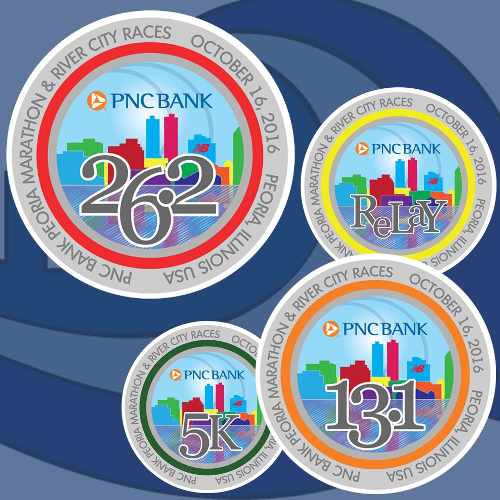 Peoria Marathon Medals 2016